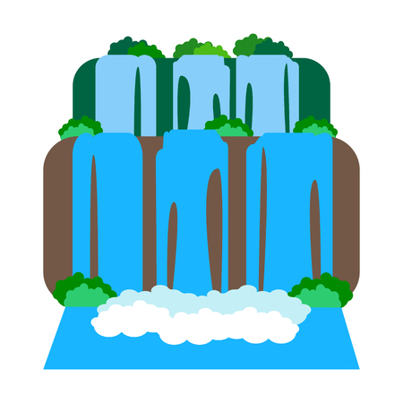 Iguazu Falls on the white background. Argentina. Vector illustration