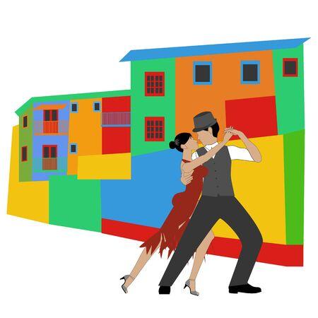 La Boca and tango on the white background. Vector illustration Illustration