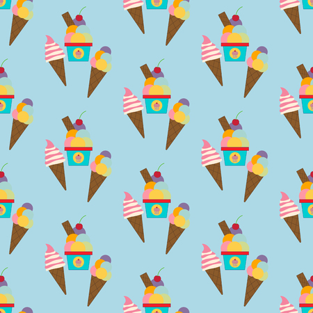 Ice cream seamless pattern on the blue background. Vector illustration