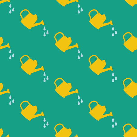 Watering Can seamless pattern on the green background. Vector illustration