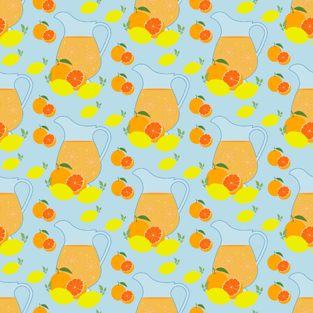 Lemonade pattern on the blue background. Vector illustration Illustration