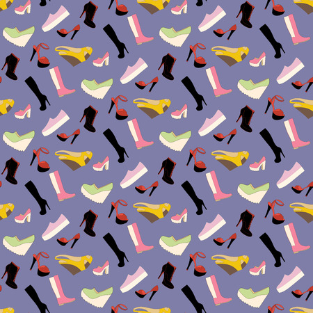 peek: Shoes pattern on the purple background. Vector illustration