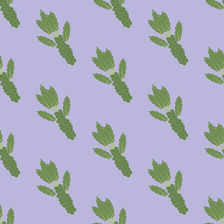 Brussels sprouts vegetable pattern on the purple background. Vector illustration
