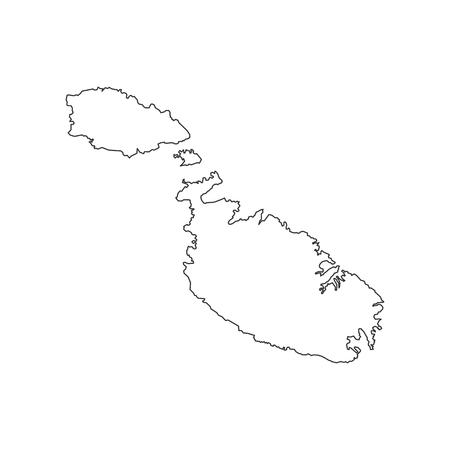 Malta map on the white background. Vector illustration