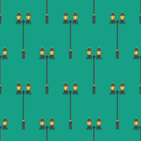 Street lighter pattern on the green background. Vector illustration Illustration