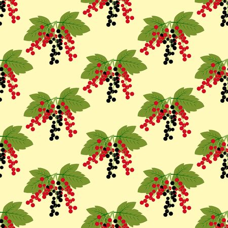 Black and red currant berry pattern on the yellow background. Vector illustration Иллюстрация