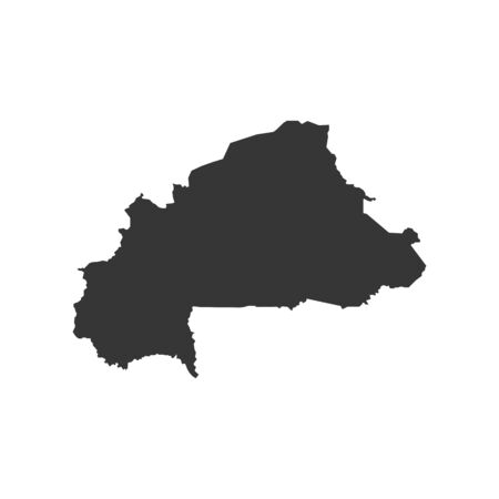 Burkina Faso map silhouette illustration on the white background. Vector illustration Çizim
