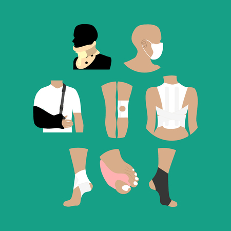 posture correction: Bandages medicine healthcare on the green background. Vector illustration