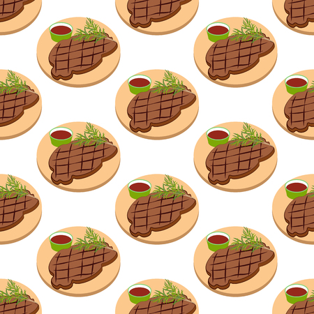Meat steak pattern on the white background. Vector illustration