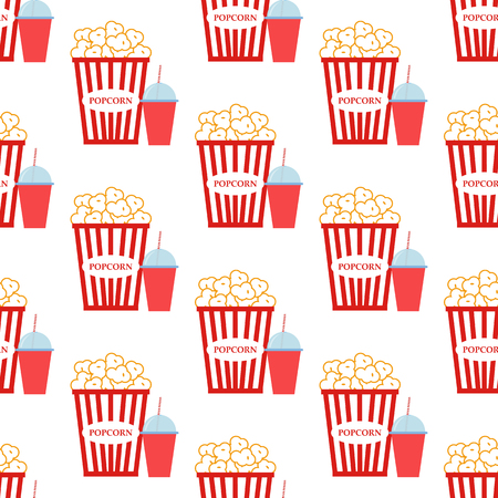 Popcorn pattern on the white background. Vector illustration