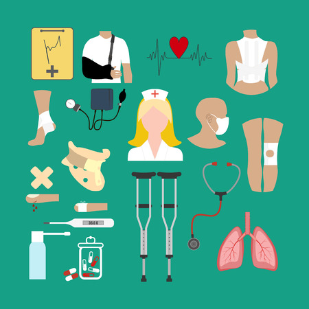 Healthcare and medicine illustration on the green background. Vector illustration