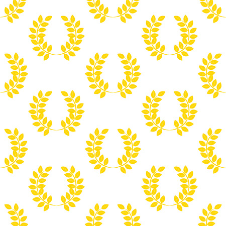 Leaf wreath pattern on the white background. Vector illustration