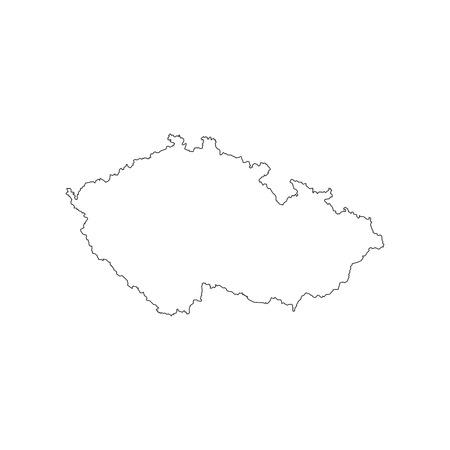 Czech Republic map outline on the white background. Vector illustration Vettoriali