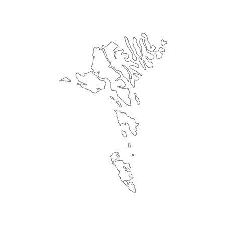 Esboço do mapa de Ilhas Faroé no fundo branco. Ilustração vetorial