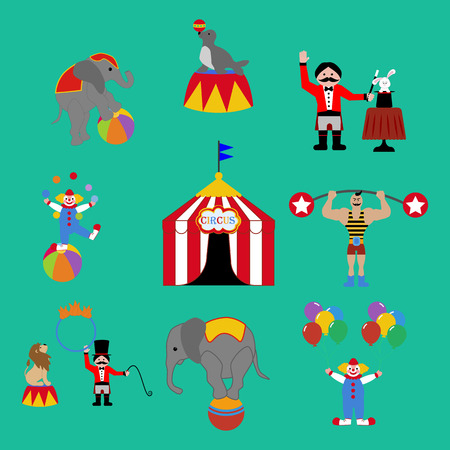 Circus set on the green background. Vector illustration