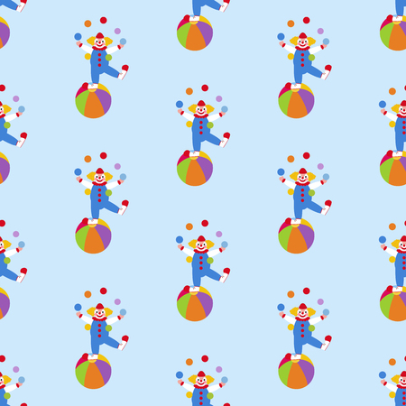 Clown in circus pattern on the blue background. Vector illustration