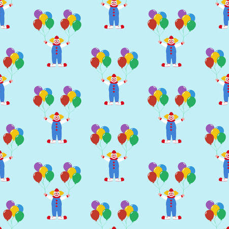 Clown with balloons pattern on the blue background. Vector illustration