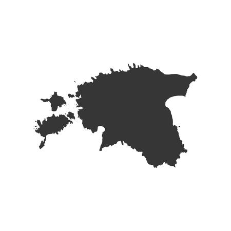 Republic of Estonia map on the white background. Vector illustration