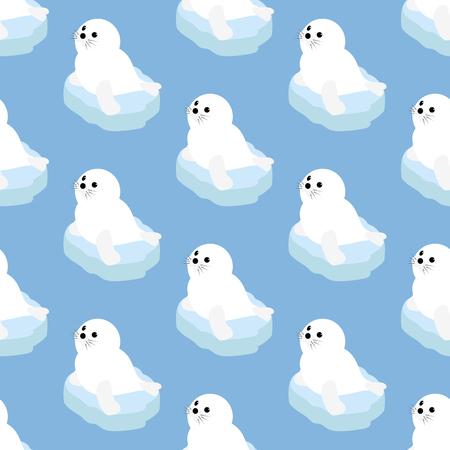 floe: Seal pattern on the blue background. Vector illustration Illustration