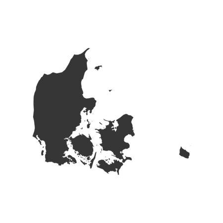 흰색 배경에 덴마크지도입니다. 벡터 일러스트 레이 션 일러스트