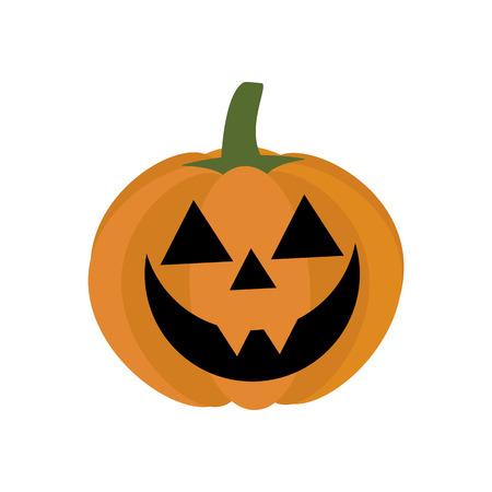 Jack-o-lantern pumpkin on the white background. Vector illustration Ilustração