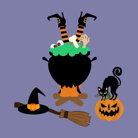 Halloween witch cauldron on the purple background. Vector illustration