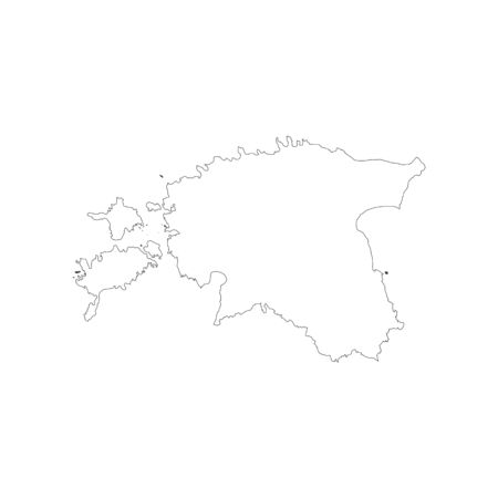 白い背景のエストニア共和国の地図。ベクトル図