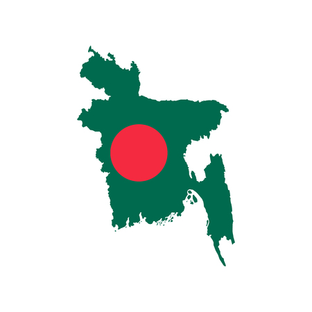 Bangladesh map and flag on the white background. Vector illustration