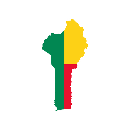 Benin map and flag on the white background. Vector illustration Illustration