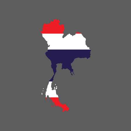 Thailand flag and map on the gray background. Vector illustration Çizim