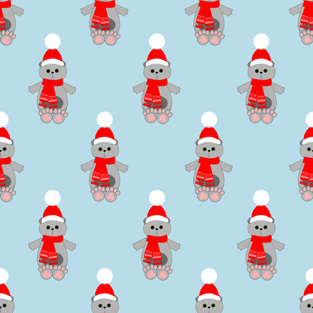 Cat in hat pattern on the blue background. Vector illustration