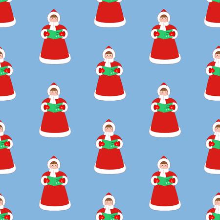 青の背景にクリスマスキャロル歌手パターン。ベクトル図