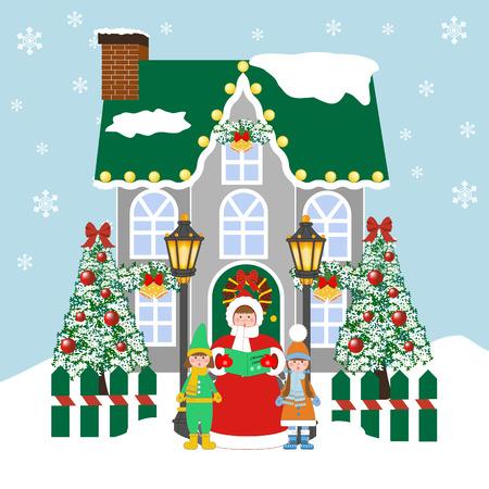 青の背景にクリスマスキャロルの歌手。ベクトル図