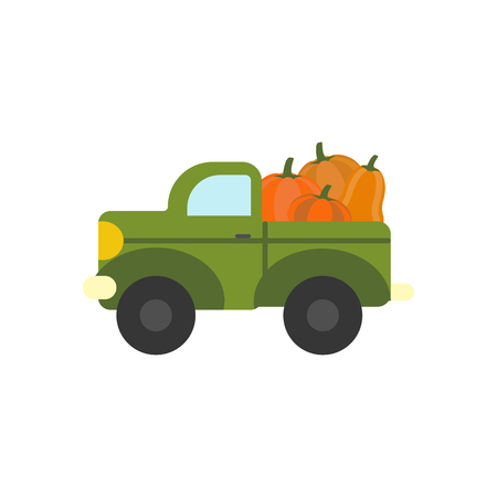 Truck with pumpkins on the white background. Vector illustration