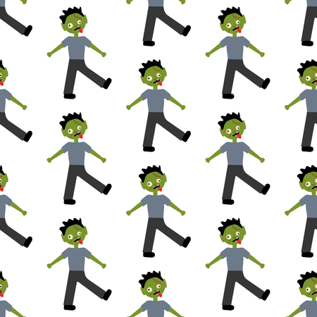 Zombie halloween costume pattern on the white background. Vector illustration