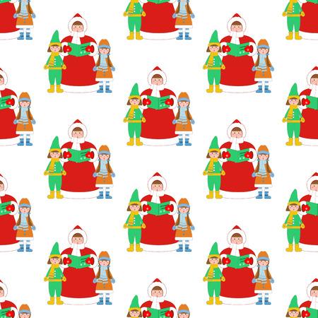 白い背景の上のクリスマスの Carols 歌手パターン。ベクトル図