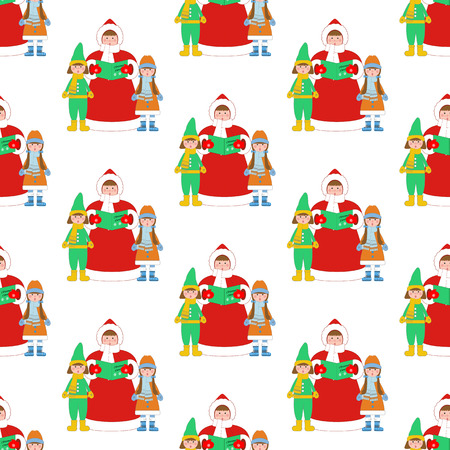 Christmas Carols singer pattern on the white background. Vector illustration