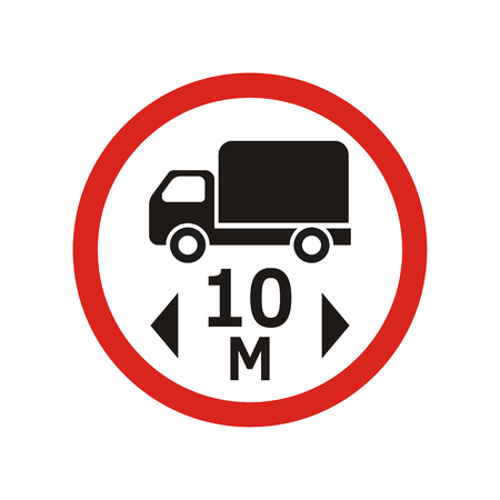 The movement of vehicles exceeding 10m in length is prohibited sign Ilustracja
