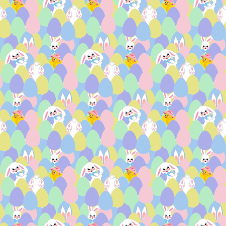 Easter bunny and eggs seamless pattern Vector illustration. Illustration