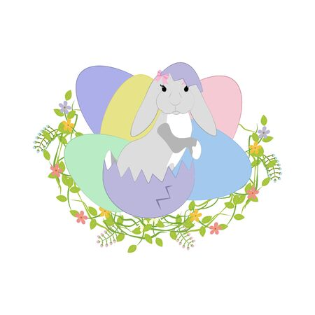Easter bunny vector illustration on the white background. Vector illustration Illustration
