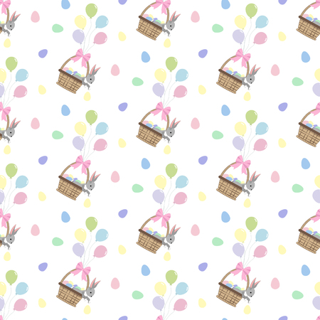 Easter bunny and eggs seamless pattern on the white background. Vector illustration