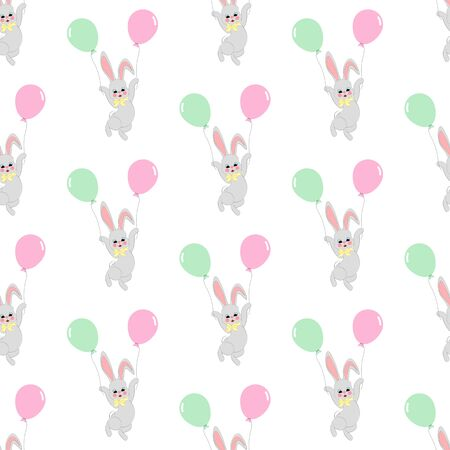 Easter bunny with balloons seamless pattern on the white background. Vector illustration Vettoriali