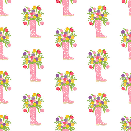 Spring flowers seamless pattern on the white background. Vector illustration