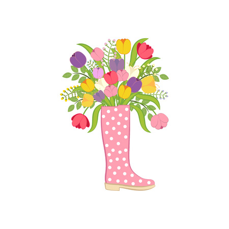 Spring flowers in boot. Illustration