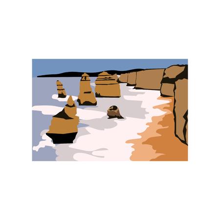 The twelve apostles Australia. Illustration