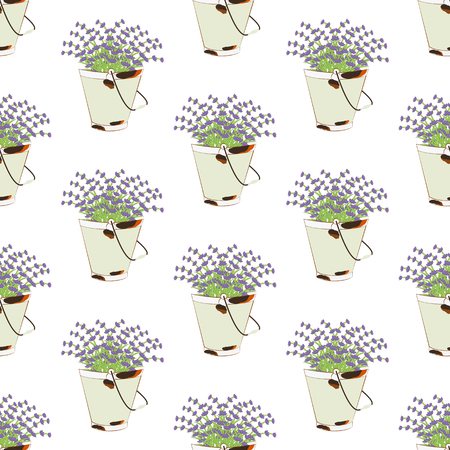 Bucket of lavender seamless pattern on the white background. Vector illustration Illustration