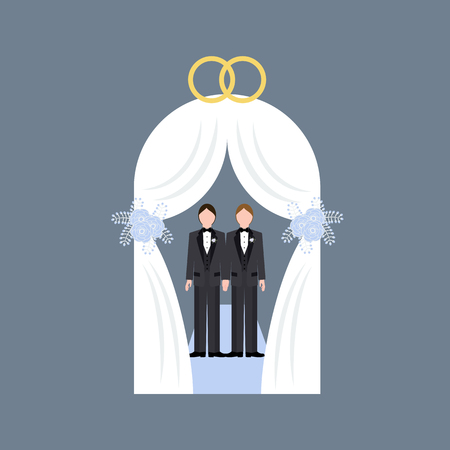 Same sex wedding on the gray background. Vector illustration 일러스트