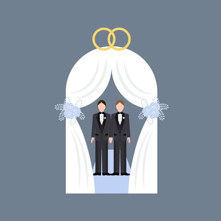 Same sex wedding on the gray background. Vector illustration Illustration