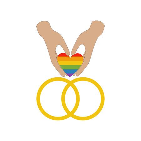 Same sex wedding rings on the white background. Vector illustration Illustration