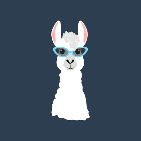 Llama in cateye glasses on the blue background. Vector illustration
